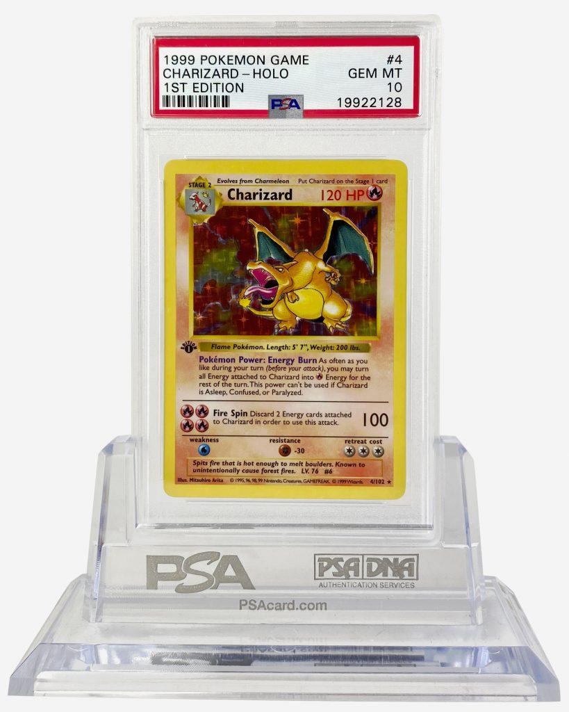 1. 1999 1st Edition Base Set Charizard PSA 10