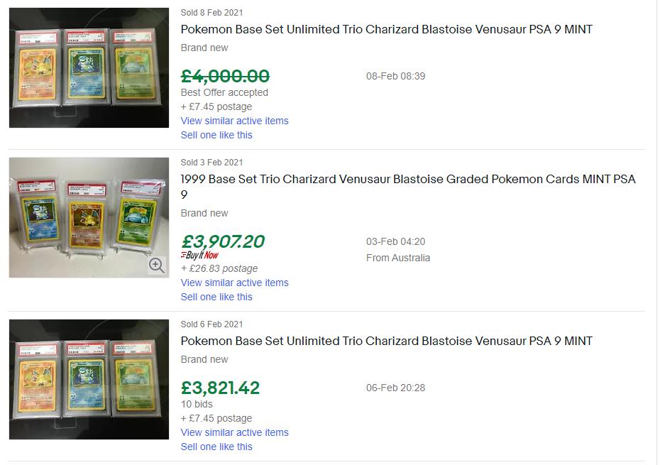 pokemon last sold ebay listing