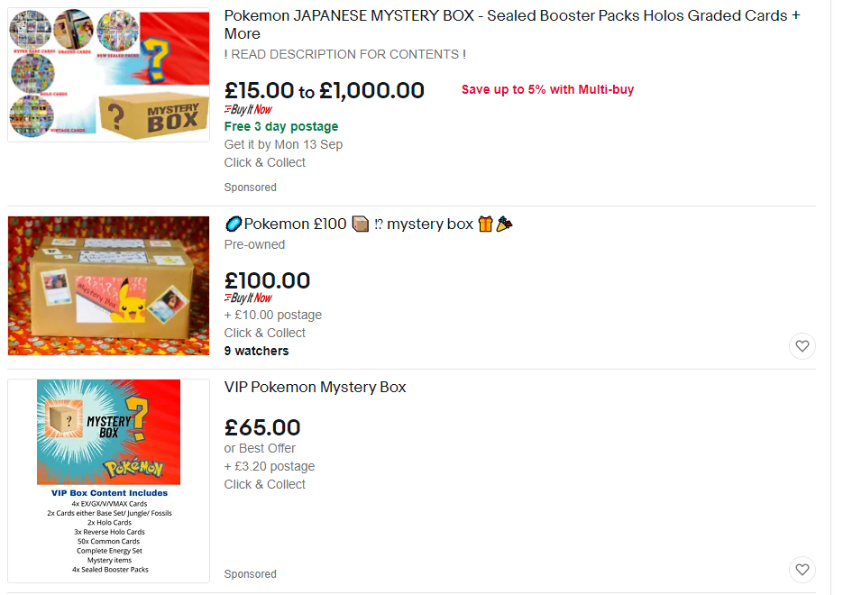 pokemon card mystery box